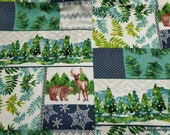 Flannel Fabric - Winter Landscape Patchwork - By the yard - 100% Cotton Flannel