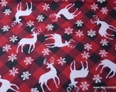 Christmas Flannel Fabric - Deer and Flakes Plaid- By the yard - 100% Cotton Flannel