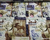 Flannel Fabric - Lodge Patches - By the yard - 100% Cotton Flannel