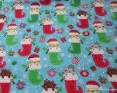 Christmas Flannel Fabric - Kittens in Stockings - By the yard - 100% Cotton Flannel