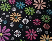 Flannel Fabric - Bright Floral on Black - By the yard - 100% Cotton Flannel
