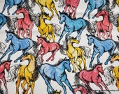 Flannel Fabric - Pastel Horses - By the yard - 100% Cotton Flannel