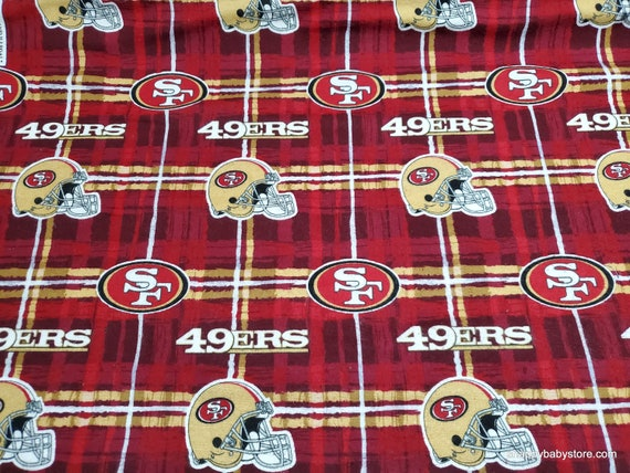Team Flannel Fabric - San Francisco 49ers Plaid - By the yard - 100% Cotton Flannel