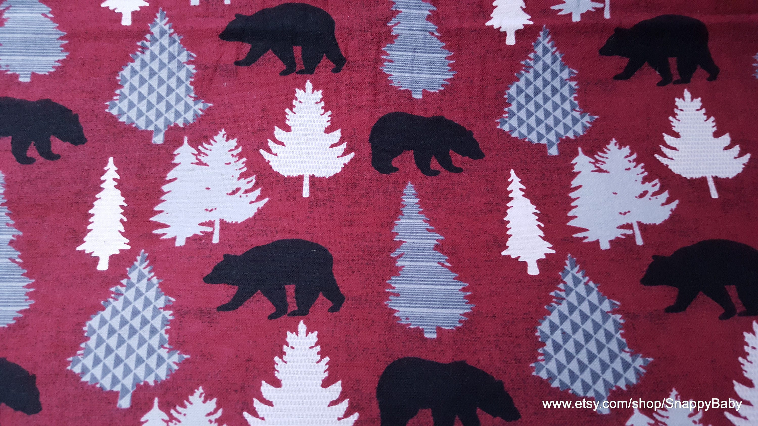 Flannel Fabric Black Bear On Red By The Yard 100 Cotton