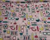 Flannel Fabric - Science Lab Light Pink - By the Yard - 100% Cotton Flannel
