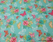 Flannel Fabric - Butterfly Lace Garden Teal - By the yard - 100% Cotton Flannel