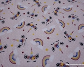Flannel Fabric - Unicorn Faces Tossed - By the yard - 100% Cotton Flannel