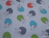 Flannel Fabric - Colorful Hedgehogs on White - By the yard - 100% Cotton Flannel