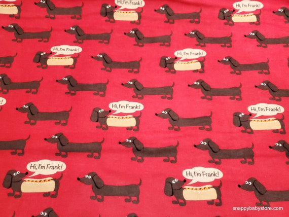 Flannel Fabric - Hi I'm Frank on Red - By the yard - 100% Cotton Flannel