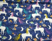 Flannel Fabric - Unicorns in Space - By the yard - 100% Cotton Flannel