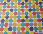 Flannel Fabric - Multi Dots on White - By the yard - 100% Cotton Flannel