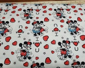 Character Flannel Fabric - Mickey and Minnie Mouse I Love You - By the yard - 100% Cotton Flannel