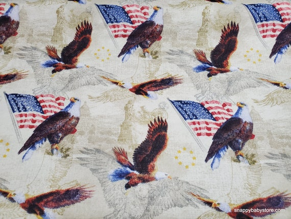 Flannel Fabric - Realistic Patriotic Eagles - By the Yard - 100% Cotton Flannel