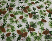 Flannel Fabric -Pinecones - By the Yard - 100% Cotton Flannel