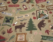 Flannel Fabric - Cabin Main Brown - By the yard - 100% Cotton Flannel