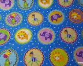 Flannel Fabric - Animal Medallions - By the yard - 100% Cotton Flannel