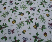 Christmas Premium Flannel Fabric - Christmas Joys Mistletoe and Bells on White Premium  - By the yard - 100% Cotton Flannel