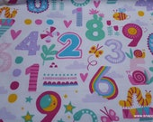 Flannel Fabric - Patterned Numbers - By the Yard - 100% Cotton Flannel