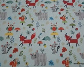 Flannel Fabric - Forest Animals on Bleached Demin Colored Background - By the yard - 100% Cotton Flannel