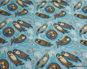 Flannel Fabric - Mama and Baby Otter - By the yard - 100% Cotton Flannel