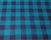 Flannel Fabric - Teal Buffalo Check - By the yard - 100% Cotton Flannel