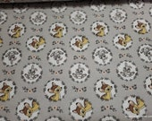 Character Flannel Fabric - Disney Bambi and Thumper Wreath on Gray - By the yard - 100% Cotton Flannel