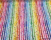Flannel Fabric - Stripe Dot Rainbow - By the yard - 100% Cotton Flannel
