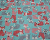 Flannel Fabric - Coral and Gray Foxes - By the yard - 100% Cotton Flannel