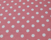 Flannel Fabric - Coral Blossom with White Dots - By the yard - 100% Cotton Flannel