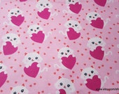 Flannel Fabric - Kitty with Heart - By the yard - 100% Cotton Flannel