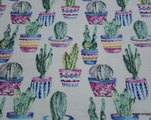 Flannel Fabric - Potted Cacti Watercolor - By the yard - 100% Cotton Flannel