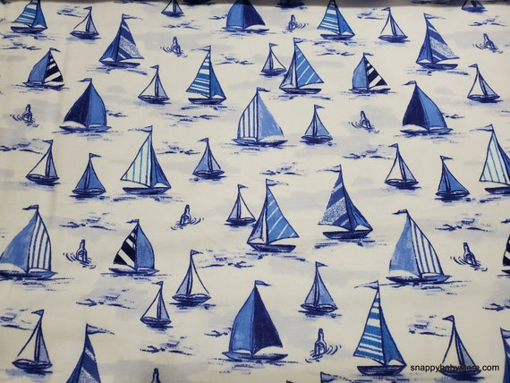 Flannel Fabric - Sailboats - By the yard - 100% Cotton Flannel
