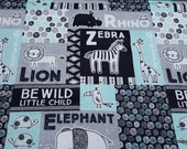 Flannel Fabric - Gray Blue Patchwork Safari - By the yard - 100% Cotton Flannel