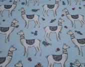 Flannel Fabric - Serene Llama - By the yard - 100% Cotton Flannel