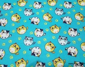 Flannel Fabric - Bubble Kitties - By the yard - 100% Cotton Flannel