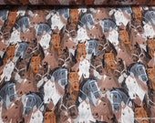 Flannel Fabric - Horse Heads - By the yard - 100% Cotton Flannel