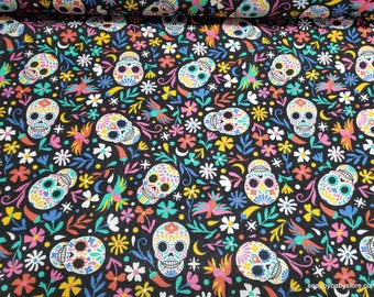 Flannel Fabric - Tossed Sugar Skulls Floral  - By the Yard - 100% Cotton Flannel