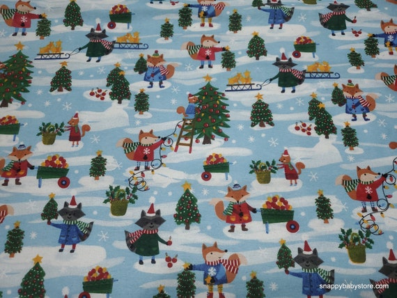 Christmas Flannel Fabric - Harvesting for Christmas - By the yard - 100% Cotton Flannel