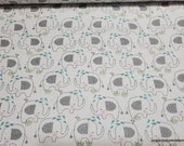 Flannel Fabric - Sketched Elephants Teal on White - By the yard - 100% Cotton Flannel