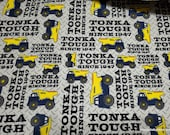 Character Flannel Fabric - Tonka Tough Yellow - By the yard - 100% Cotton Flannel