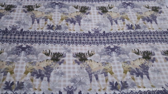 Flannel Fabric - Stripe Moose with Ivory Check - By the yard - 100% Cotton Flannel