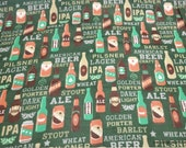 Flannel Fabric - Beer Types - By the yard - 100% Cotton Flannel