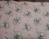 Character Flannel Fabric - Tinker Bell Floral Frame Pink  - By the yard - 100% Cotton Flannel