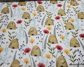Flannel Fabric - Beehive Floral - By the yard - 100% Cotton Flannel