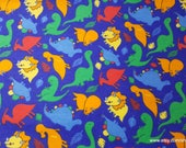 Flannel Fabric - Dinomite - By the yard - 100% Cotton Flannel