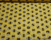 Flannel Fabric - Honeycomb and Bees - By the yard - 100% Cotton Flannel