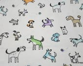 Flannel Fabric - Sketched Shadow Pups - By the yard - 100% Cotton Flannel