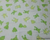 Flannel Fabric - Frogs on Light Blue - By the yard - 100% Cotton Flannel