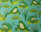 Flannel Fabric - Dotted Froggies  - By the yard - 100% Cotton Flannel