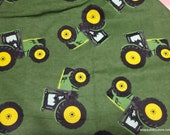 Flannel Fabric - John Deere Tractors - By the yard - 100% Cotton Flannel